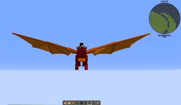 Imagen donde podemos ver un jugador volando sobre uno de los dragones que añade el mod Dragon Mounts: Legacy 1.16.1, 1.16.2 y 1.16.3.