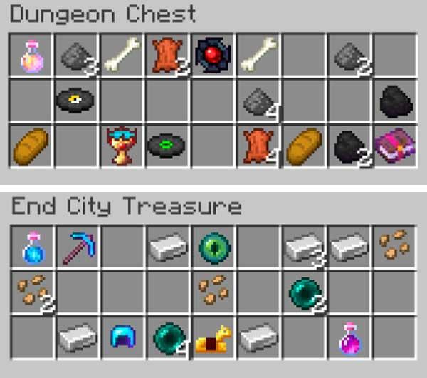 Imagen donde podemos ver algunas de las cosas que podremos encontrar en los tesoros que añade el mod Enigmatic Legacy 1.16.1, 1.16.2, 1.16.3 y 1.16.4.