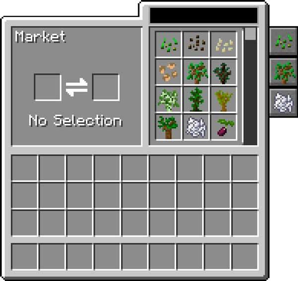 Imagen donde podemos ver la interfaz de comercio que añade el mod Farming for Blockheads 1.16.1, 1.16.2, 1.16.3 y 1.16.4.