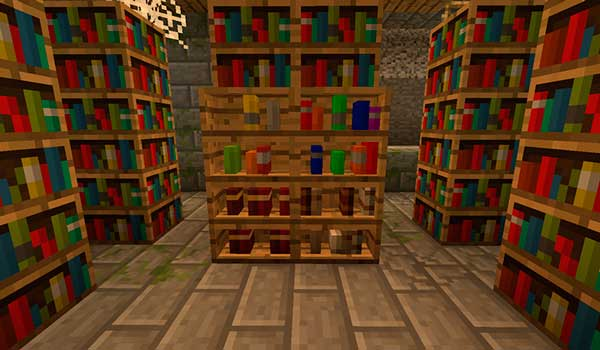 Imagen donde podemos ver una de las nuevas librerías que podremos fabricar a partir del mod Inspirations 1.16.1, 1.16.3, 1.16.4 y 1.16.5.