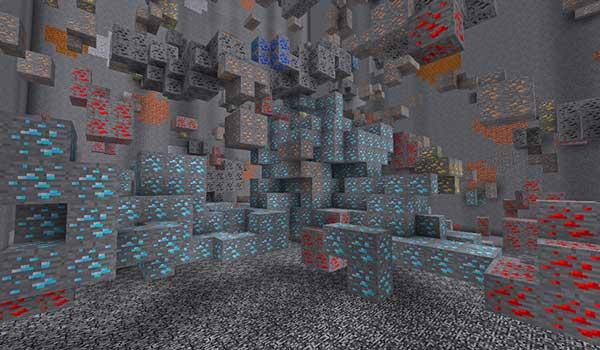 Imagen donde podemos ver una de las enormes vetas de recursos minerales que generará el mod Large Ore Deposits 1.16.1, 1.16.2, 1.16.3 y 1.16.4.