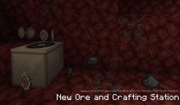 Imagen donde podemos ver el nuevo recurso mineral que añade el mod Lightest Lamps 1.16.1.