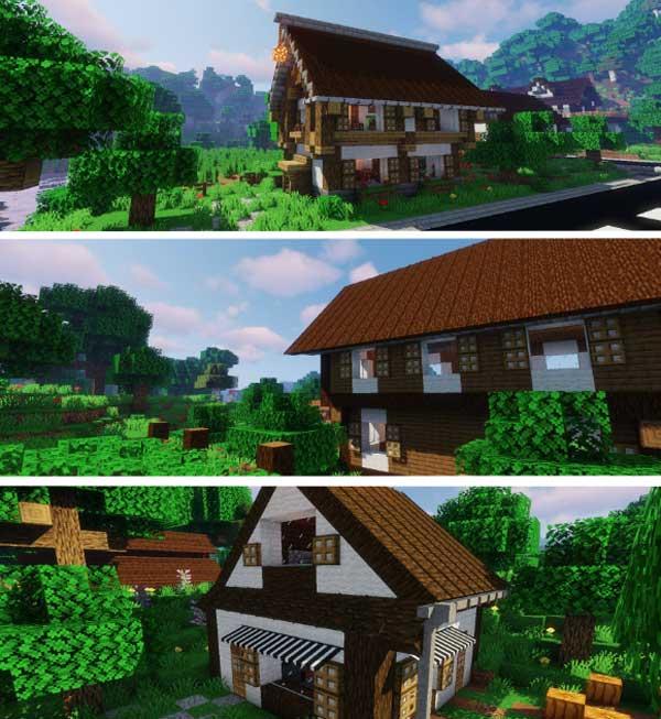 Imagen compuesta donde podemos ver los tejados, toldos y canales de lluvia que podremos fabricar con el mod Macaw's Roofs 1.16.1, 1.16.2, 1.16.3, 1.16.4 y 1.16.5.