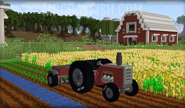 Imagen donde podemos ver uno de los vehículos que añade el mod MrCrayfish's Vehicle 1.16.1, que en este caso es un tractor.