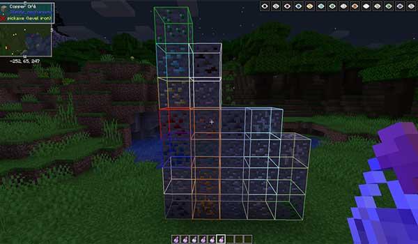 Imagen donde podemos ver cómo funciona la poción para revelar minerales cercanos, que ofrece el mod Potions Master 1.16.1, 1.16.2, 1.16.3, 1.16.4 y 1.16.5.
