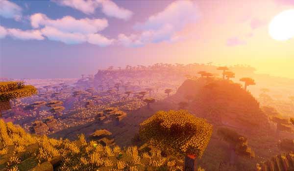 Imagen aérea de un paisaje de Minecraft donde podemos apreciar las mejoras gráficas que nos ofrecen los Shaders para las versiones 1.16.1, 1.16.2, 1.16.3, 1.16.4 y 1.16.5 de Minecraft.