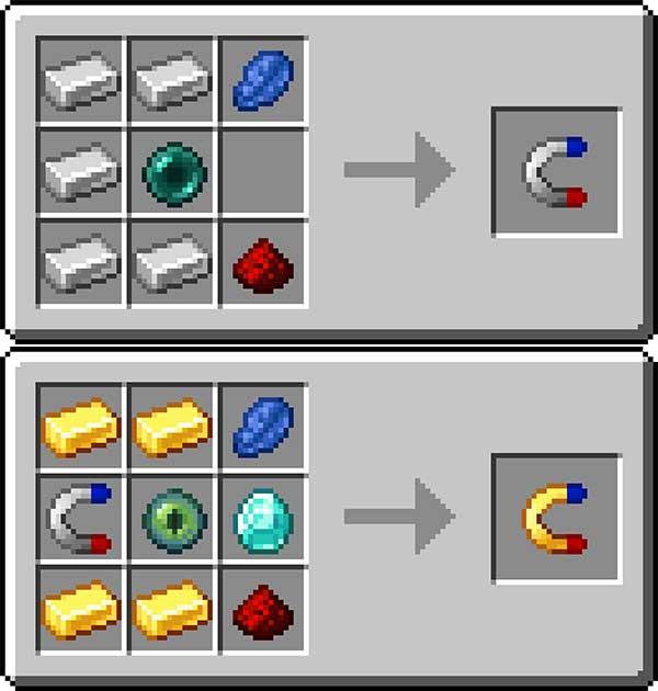 Imagen donde podemos ver cómo se fabrican los dos imanes que nos ofrece el mod Simple Magnets 1.16.1, 1.16.2 y 1.16.3.