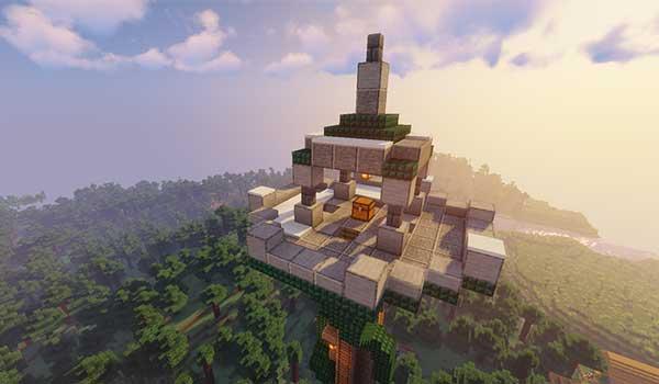 Imagen donde podemos ver la zona superior de una de las torres, con un tesoro, que añade el mod Towers Of The Wild 1.16.1, 1.16.3 y 1.16.4.