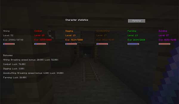 Imagen donde podemos ver las estadísticas de personaje que nos ofrece el mod Zmod Skills 1.16.1 y 1.16.2.