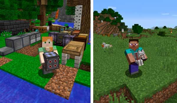 Imagen compuesta donde podemos ver un personaje sosteniendo un lobo y otro personaje sosteniendo una máquina, gracias al mod Carry On 1.16.2, 1.16.3, 1.16.4 y 1.16.5.