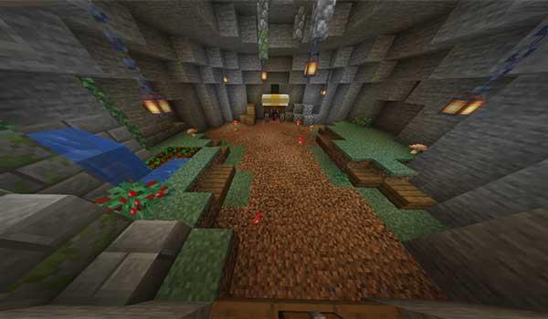 Imagen donde poder la zona de aparición de nuestro personaje en el mapa Caveblock 1.16 y 1.15.