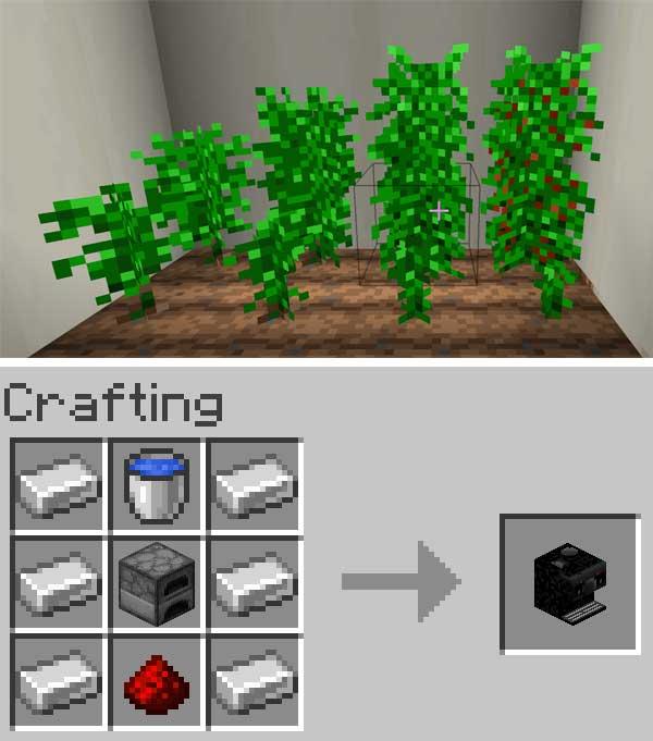 Imagen compuesta donde vemos las plantas de café y la máquina cafetera que ofrece el mod Coffee 1.16.1 y 1.16.2.