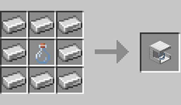 Imagen donde podemos ver cómo se fabrica la máquina embotelladora de orbes de experiencia que ofrece el mod EXP Bottling 1.16.1 y 1.16.2.
