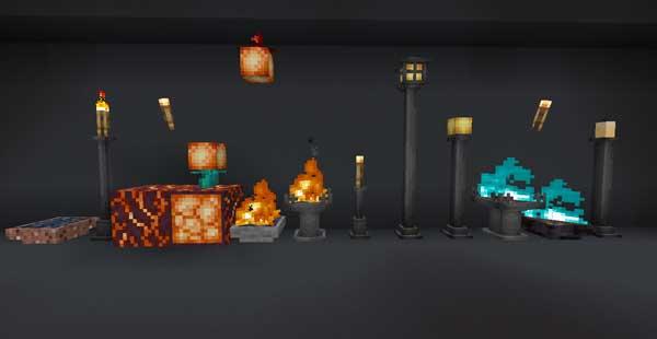 Imagen donde podemos ver algunas de los elementos de iluminación que podremos fabricar con el mod Extended Lights 1.16.1 y 1.16.2.