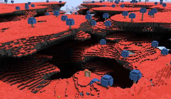 Imagen aérea donde podemos ver el aspecto, y formato, que nos ofrecerá la nueva dimensión que ofrece el mod Moolands 1.16.3.