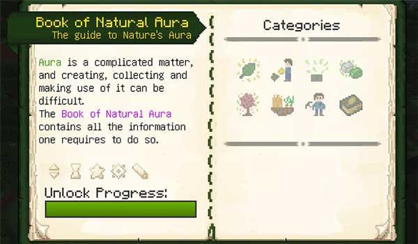 Imagen donde podemos ver la guía de elementos y conceptos que nos ofrece el mod Nature's Aura 1.16.3 y 1.16.4.