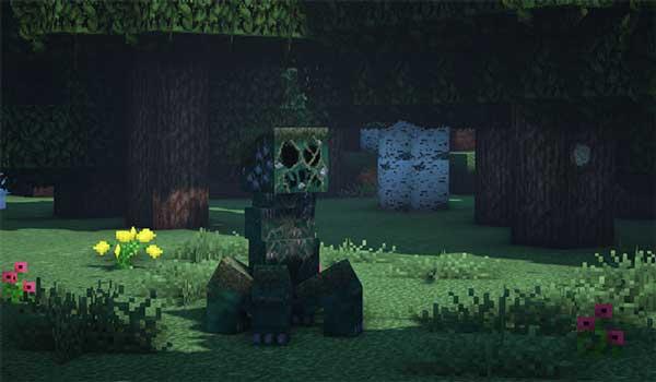 Imagen donde podemos ver el aspecto que tendrán los Creepers tras instalar Overgrowth Texture Pack 1.16, 1.15 y 1.14.