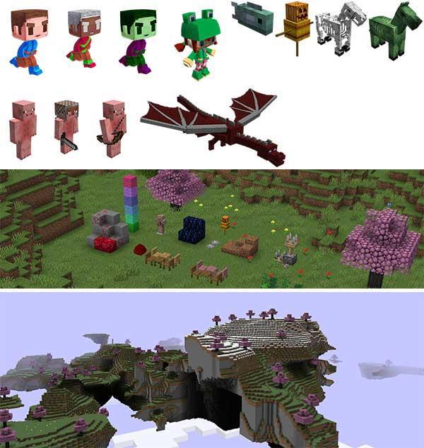 Imagen compuesta donde podemos ver una buena parte de los nuevos objetos y criaturas que añade el mod Rediscovered 1.16.2, 1.16.3, 1.16.4 y 1.16.5.