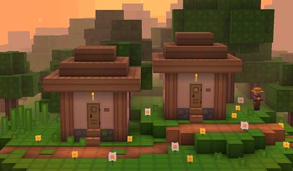 Imagen frontal de dos pequeñas casas de un poblado, donde podemos ver cómo quedan las texturas Rodrigo's 1.16, 1.15 y 1.12.