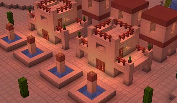 Imagen aérea donde podemos ver un poblado del desierto, decorado con las texturas Rodrigo's 1.16, 1.15 y 1.12.
