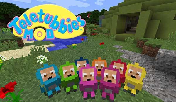 Imagen donde podemos ver a las versiones infantiles de los Teletubbies que añade el mod Teletubbies 1.16.1 y 1.16.3.