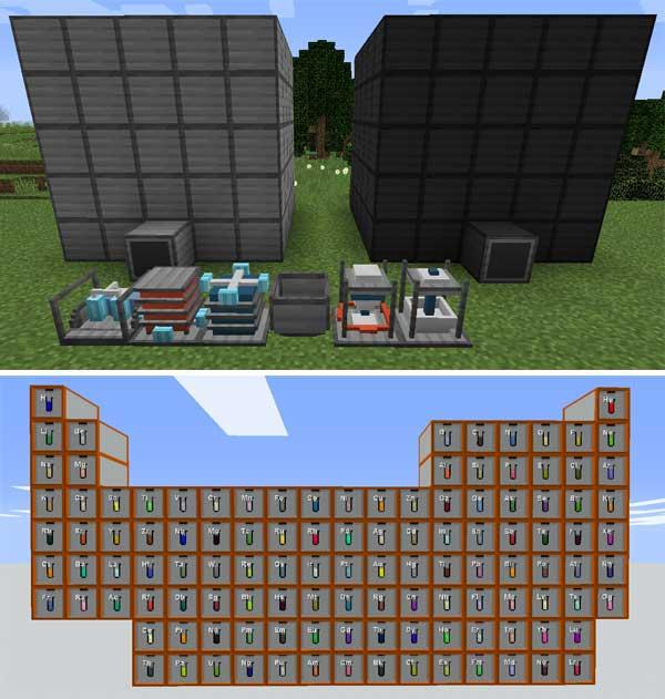Imagen donde podemos ver algunas de las máquinas y elementos alquímicos que nos permitirá utilizar el mod Alchemistry 1.16.3, 1.16.4 y 1.16.5.