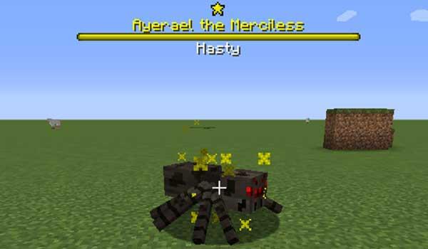 Imagen donde podemos ver un ejemplo de una araña campeona, generada por el mod Champions 1.16.1, 1.16.2 y 1.16.3.