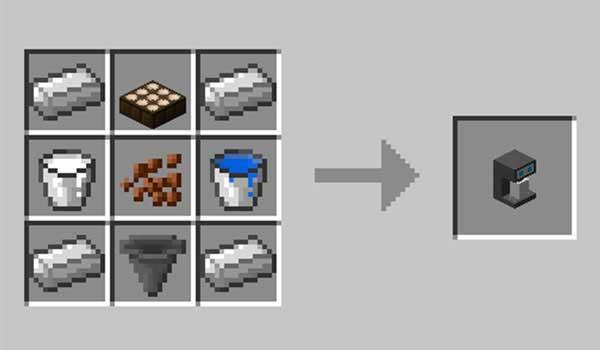 Imagen donde podemos ver el proceso exacto para fabricar la cafetera que nos ofrece el mod Coffee Spawner 1.16.3 y 1.16.4.