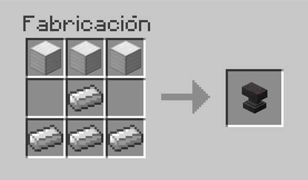 Imagen donde poder ver la receta, o crafteo, que muestra cómo se fabrica un yunque en Minecraft.