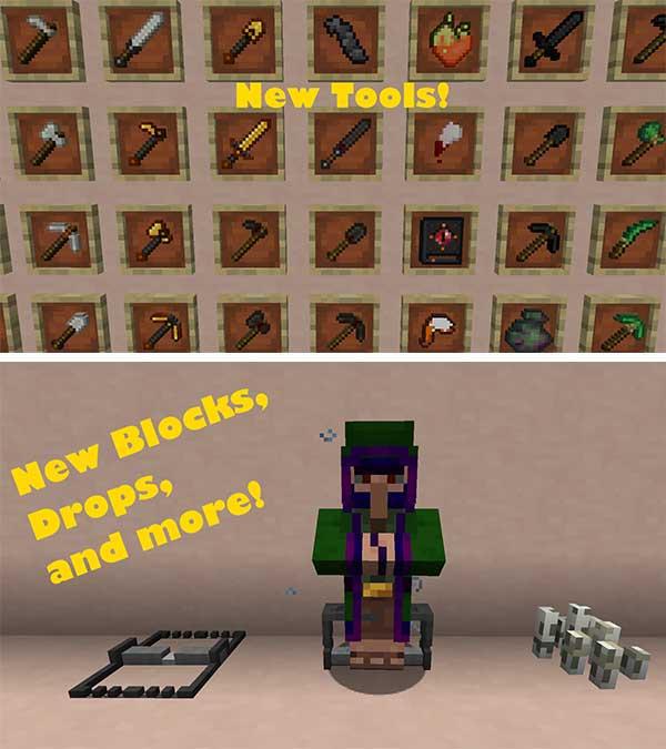 Imagen donde podemos ver algunas de las nuevas trampas, armas, herramientas y armaduras que nos ofrece el mod Craft and Hunt 1.16.3.