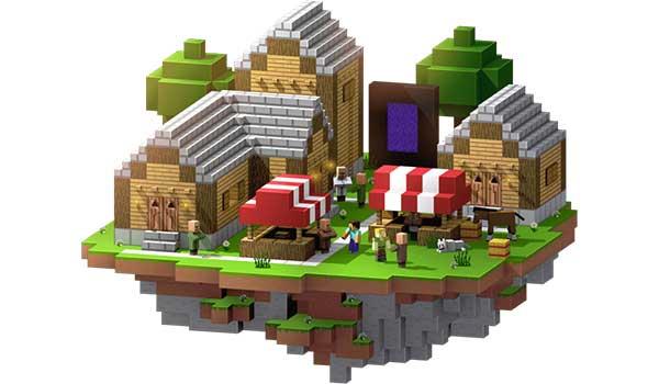 Imagen donde podemos ver un poblado de Minecraft, creado en un servidor de Minecraft Realms.