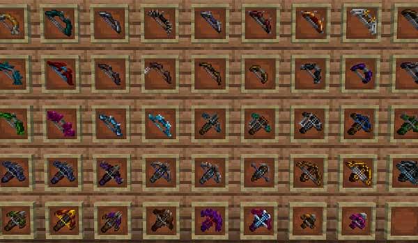 Imagen donde podemos ver todas las armas de ataque a distancia que nos ofrece el mod Dungeons Gear 1.16.1, 1.16.2, 1.16.3, 1.16.4 y 1.16.5.