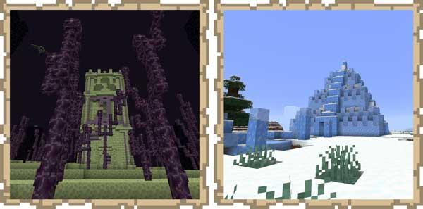 Imagen donde podemos ver un ejemplo de dos nuevos tipos de mazmorras que serán añadidas al juego por el mod Dungeons Plus 1.16.1, 1.16.3, 1.16.4 y 1.16.5.