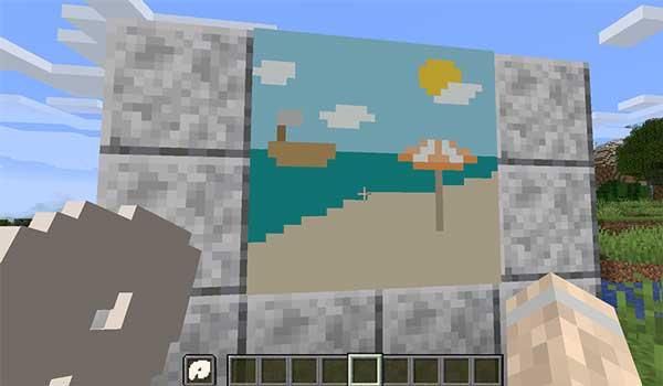 Imagen donde podemos ver un jugador dibujando sobre un lienzo de papel, gracias al mod Joy of Painting 1.16.2 y 1.16.3.