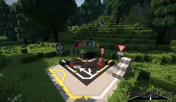 Imagen donde podemos ver los bloques y objetos de tránsito que podremos fabricar con el mod Road Stuff 1.16.1 y 1.16.3.