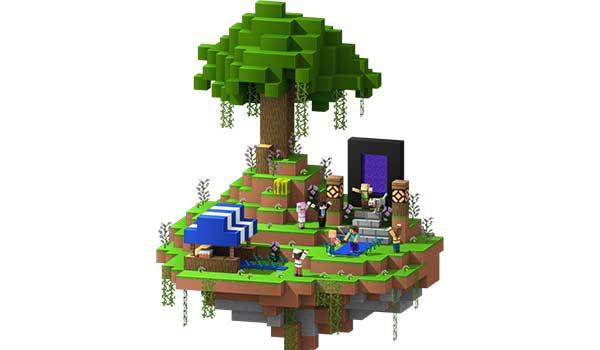 Imagen donde vemos una reunión de jugadores, bajo un árbol de grandes dimensiones, dentro de un servidor de Minecraft gratis.