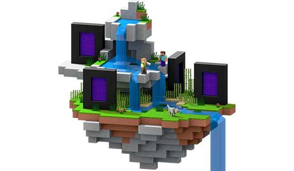 Imagen de una zona acuática, con cuatro portales dimensionales, desarrollada en un mundo dentro de un servidor de Minecraft.