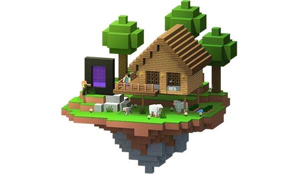Imagen de una vivienda de Minecraft, junto a un portal dimensional, creada en un servidor de Minecraft Realms.