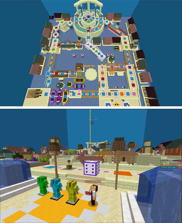 Imagen compuesta donde podemos ver uno de los tableros, o plataformas , que encontraremos en el mapa Super Voxel Party 1.16.