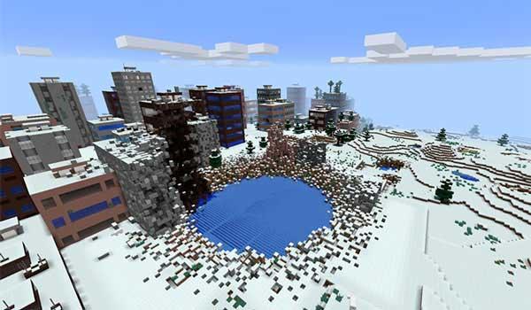 Imagen donde podemos ver un ejemplo de una de las ciudades que se generarán al instalar el mod The Lost Cities 1.16.3, 1.16.4 y 1.16.5.