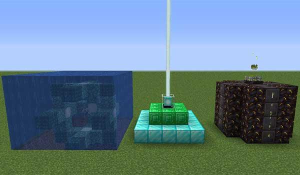 Imagen donde podemos ver tres estructuras, el conducto, el beacon y la nueva estructura que añade el mod Brazier 1.16.1, 1.16.3 y 1.16.4