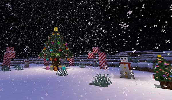 Imagen donde podemos ver algunos de los elementos decorativos de Navidad que podremos fabricar con el mod Christmas Festivity 1.16.1, 1.16.2, 1.16.3 y 1.16.4.
