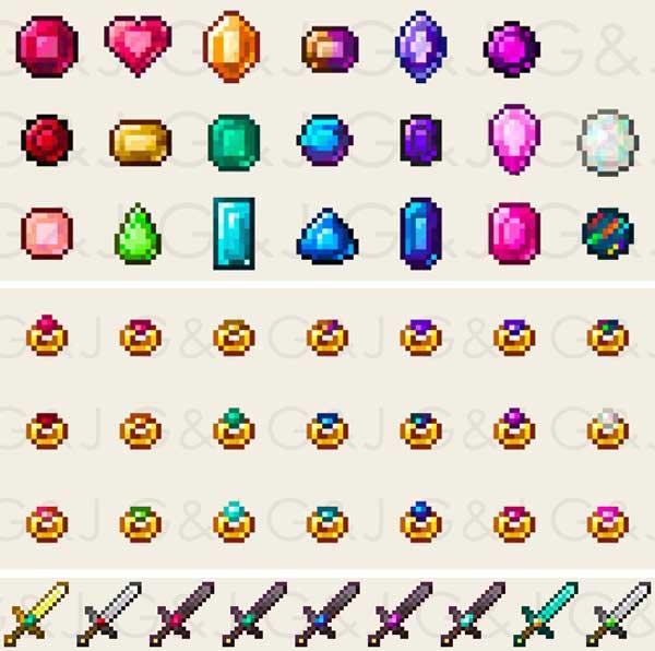 Imagen donde podemos ver algunos de los elementos de los que podremos disponer tras instalar el mod Gems & Jewels 1.16.4.