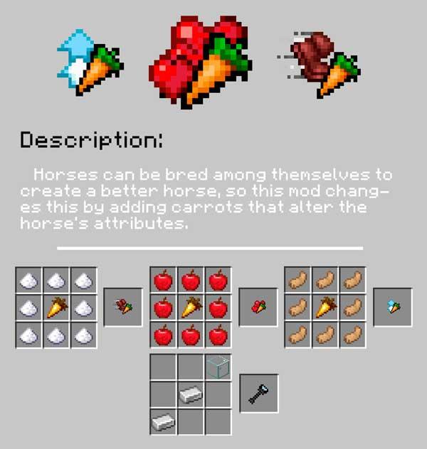 Imagen donde podemos ver cómo se fabrican los tres modificadores que nos permitirá crear el mod Horse Modifiers 1.16.3.