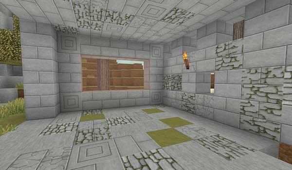 Imagen donde podemos ver el interior de un edificio en ruinas, decorado con Invictus Texture Pack 1.16, 1.15 y 1.12.