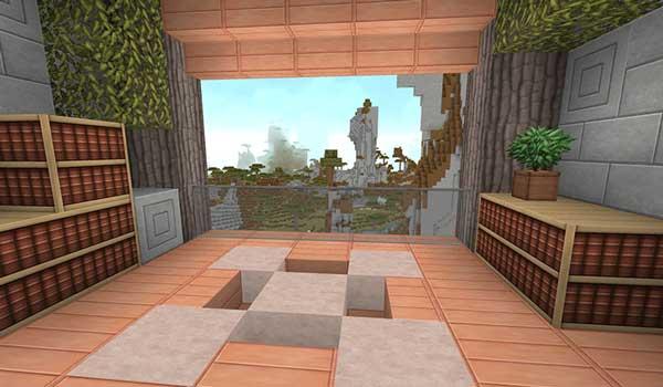 Imagen donde podemos ver interior de una vivienda en Minecraft, decorada con las texturas Invictus 1.16, 1.15 y 1.12.