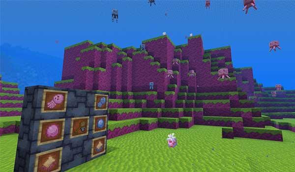 Imagen donde podemos ver el nuevo bioma, y las medusas, que añade el mod Jellyfishing 1.16.3, 1.16.4 y 1.16.5.