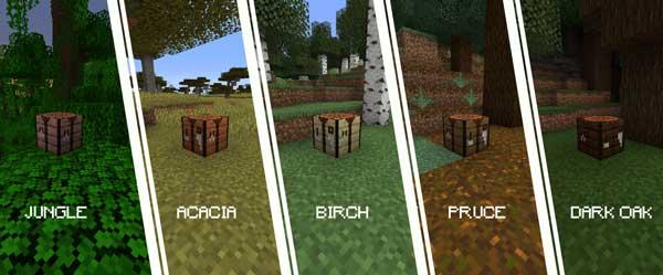 Imagen donde podemos ver los diversos tipos de madera que podremos fabricar con el mod More Crafting Tables 1.16.3 y 1.16.4.