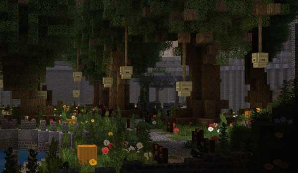 Imagen donde podemos ver unos jardines, llenos de árboles, decorados con Wanderlust Texture Pack 1.16.