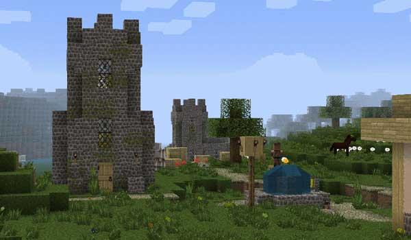 Imagen donde podemos ver un paisaje de una aldea, decorada con las texturas Wanderlust 1.16.